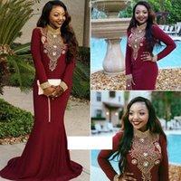 Dark Wine Mermaid Prom Dresses Long Sleeve Gold Beaded Black Girl High Neck African Evening Formal Wear Vestido De Festa