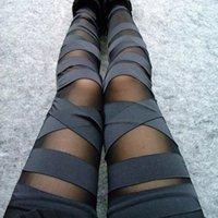 Bandage Leggings Charming Leggins Slim Women Punk Legins Lady 2020 Sexy Splicing Pants Stretch Black Trousers Patchwork