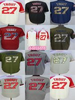 Fabrikauslass Herren Womens Kids Kleinkinder Baseball-Trikots Los Angeles 27 Mike Forelle QualitätBeeile Schwarz Blaue Flagge Grüngrau