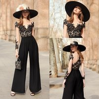 Black Evening Dresses Jumpsuit Lace Applique O Neck Long Illusion Sleeves Formal Prom pant suit wear Vestidos De Fiesta