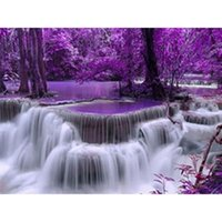 Diamond Painting DIY By Number Kit Full Round Drill Canvas Purple Tree Waterfall Scenery 5D Home Decor For Living Room Wall Art