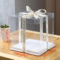 Gift Wrap DIY Transparent Cake Box For Happy Birthday Dessert Packaging Handmade Wedding Party Holiday Pastry Package Supplies