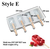 Silicone Ice Cream Moulds 4 Cell Cube Tray Cakesicle Mold Popsicle Maker DIY Homemade Freezer Lolly Mould Cake pop tools HHMDN