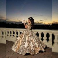 2021 Shining Altın Balo Quinceanera Elbiseler Boncuklu Kapalı Omuz Tül Payetli Tatlı 15 16 Elbise XV Parti Giyim