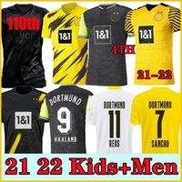 플레이어 버전 1990 Limited Edition Haaland Reus Borussia 20 21 4th Dortmund 축구 유니폼 2021 2022 Bellingham Sancho Hummels Brandt 남자 축구 유니폼 + 키트 키트