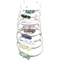 Irregular Natural Crystal Stone Handmade Gold Silver Plated Bangle Bracelets For Women Girl Party Club Decor Jewelry