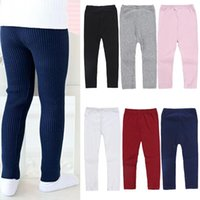 Girl's Leggings Spring And Autumn Candy Color Knitted Stretch Pants Children's Elastic Wild Trousers