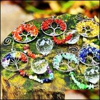 Patio, pelouse Gardenkainai Chakra Suncatcher Gemstone suspendu à cristal Ornement Prisms Accueil Deco Garden Collection Rainbow Collection Cadeaux Décorations