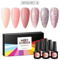 Nail Art Kits MEET ACCROSS Color Gel Polish Set For Extension Kit Lacquer UV LED Lamp Design 6 Bottles