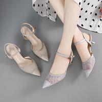 Sandals Women Summer 2021 Fashion Mid-heel Sexy Stiletto Fairy Style Baotou High Heels Wedding Shoes
