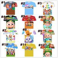 24 cores crianças de verão t-shirt infantil tiktok tik tok de manga curta dos desenhos animados camisetas Cocomellon Boy JJ Família cão Panda tubarão impressão esporte tops roupas g52qjl5