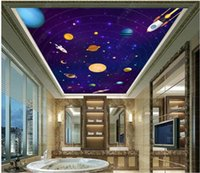 Wallpapers 3d Ceiling Mural Po Wallpaper Cartoon Universe Interstellar Space Planet For Walls In Rolls Home Decor Living Room