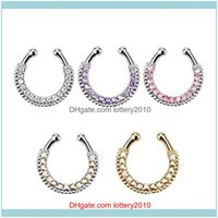 Belly Chains Jewelry! U-Shaped Clip On Fake Septum Clicker Non Piercing Nose Ring Hoop Body Jewelry Drop Delivery 2021 02Qlr