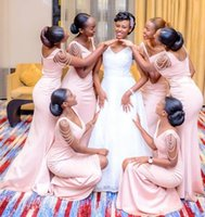 2022 Pink Mermaid Bridesmaid Dress Long V Neck Off The Shoulder Split Side Wedding Guest Gowns Black Girl Prom Evening Party Dresses Plus Size Under 100
