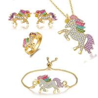 Luxus Kristall Einhorn Ringe Halskette Armband Ohrringe Niedliche Cartoon Regenbogen Pferd Zubehör Set Frauen Schmuck