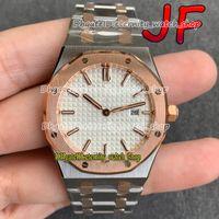Eternity JFF Top Version Senhoras relógios 67651 Rose Gold Bezel Dial Branco Movimento Suíço Quartz Movimento 77350 Womens Assista a duas cores Cor Strap 1261