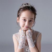 Children's Mittens Girls Princess Gloves Dress Glove Lace Diamond Performance Pography Costume Wedding Accessories For Kids Birthday Gift