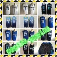 Homens Basquete Luka Doncic Jersey 77 Kristaps Porzingis 6 Dirk Nowitzki 41 Edição Ganhou cidade costurada azul marinho preto branco entrega rápida
