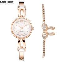 스타일 2 조각 합금 여성 팔찌 시계 여성 우아한 럭셔리 다이아몬드 세트 Bowknot Bangle Quartz Wristwatches