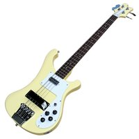 Amarillo 4 cuerdas 4003 Ricken Electric Guitar Guitarra con redondo blanco de palisandro