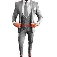 Custom-made One Button Groomsmen Peak Lapel Groom Tuxedos Men Suits Wedding Prom Dinner Man Blazer(Jacket+Pants+Tie+Vest) W961