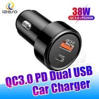 QC3.0 Caricabatteria da auto 38W PD Caricabatterie rapide Dual USB Ports Adattatore ad alta velocità Adattatore ad alta velocità per iPhone 12 Pro Max Samsung Phone Izeso