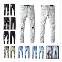 2021 Alta Qualidade Mens Jean Afligido Motocicleta Motociclista Jeans Rock Skinny Slim Rasgado Furo Hole Stripe Fashionable Snake Bordado Denim Calças