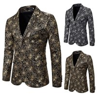 Tendência Europeia e Americana de Moda Impresso Casual Versão Coreana Ocidental Slim Coat Maré 2021 Outono / Inverno Design Cor Suites Masculinos Blaze