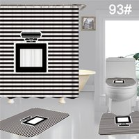 Fashion Designer Home Durable Shower Curtains Toilet Set Soft Waterproof Bathroom Cushion Accessories Four Pieces Suit