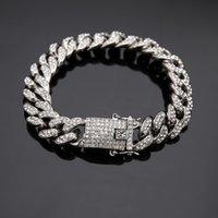 2020 الذهب والفضة أساور مجوهرات الماس مثلج سلسلة ميامي كوبان ربط سلسلة سوار رجل الهيب هوب مجوهرات 126 R2