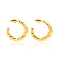 Fashion luxury gold big dangle stud hoop earrings round real pure 18k chain link jewelry factory natural texture pendientes mujer
