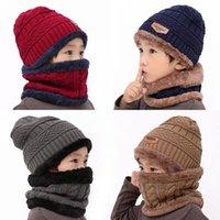 Novo inverno crianças de malha chapéu anel cachecol sets crianças bebê morno mais veludo espesso tampa macia meninos meninas fleece lining gorros
