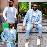 Sky Blue 3 Pcs Wedding Tuxedos for Men Plus Size Jacket Vest Pants Customise Groom Groomsmen Suit Mens' Business Formal Wear