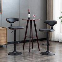 Mobiliário de sala de jantar Hengming Bentwood Beit / Bar ajustável, Barstool giratório estofado (conjunto de 2), preto