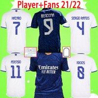 Spieler Fans Version Soccer Jerseys 2021 2022 Real Madrid Maillots de Football Hemden 21 22 Zuhause weg Dritter Vierter Camiseta Benzem Sergio Ramos Uniformen Langarm
