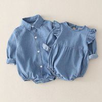 Kinder Strampler Mädchen Jungen Denim Strampler Säugling Kleinkind Cowboy Jumpsuits Ins Koreanische Version Sommer Mode Boutique Baby Kleidung Z3024