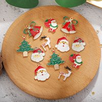 Enamel de metal misturado encantos de Natal pingentes enfeites de enfeites para brincos de pulseira jóias fazendo presente de xmas decoração de árvore crianças presente