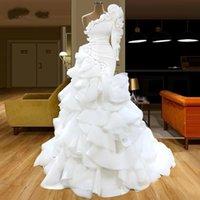 Fashion Mermaid Wedding Dress Ruffles One Shoulder Long Sleeve Saudi Arabia Bridal Gowns 2021 Modern Sweep Train robes de mariée
