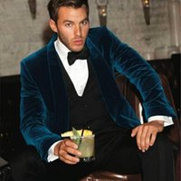 Men's Suits & Blazers One Piece Green Velvet Men Jakcet Shawl Lapel Wedding Grooms Tuxedos Slim Fit Formal Blazer Button Celebrity Prom Coat