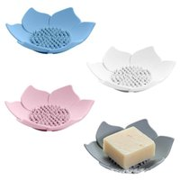 4 colores Platos de jabón de silicona Creative Lotus Shape Placa portátil Placa de almacenamiento Drenaje Solter Holder Herramienta de ducha de baño GWF8371