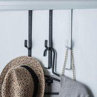 Hooks & Rails 3PCS Iron Hook Behind The Door Hats Bags Coats Holder Tie Scarf Key Bedroom Punch-Free Multi-Function Storage Rack