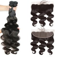Human Hair Bulks Fashow Malaysian Body Wave 3 Bundles With Frontal Closure 100% Transparent HD 13X4 Ear To Lace