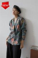 블레이저 및 재킷 코트 슈트 디자이너 가을 빈티지 녹색 꽃 무늬 인쇄 블레이저 여성 2021 느슨한 패션 여성 정장