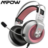 MPOW EG3 Pro Over-Ear Surround Sound Sound Sound Gaming Headset Ruído-Cancelamento DJ Bar Fone de Ouvido com LED Light 3.5mm Cabo de Áudio