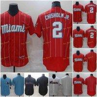 2021 şehir bağlamak 2 caz chisholm jr beyzbol formaları dikişli flexbase serin taban ekibi beyaz kırmızı siyah mavi