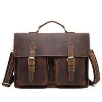 Genuine leather men's briefcase bag retro crazy horse leathers shoulder messenger bags cowhide handle handbag high quality 2789