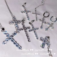 necklace Bright zircon Cross plated with 18K white gold, full Diamond Cross, multi-layer pendant, neck chain and earrings