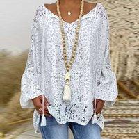 Вязаные осени женские элегантные V-образные вырезы кисточки печати блузка рубашки винтажные фонарь с длинными рукавами Топы женские Дамские Мода Повседневная Свободные Blusas Umqu S73C