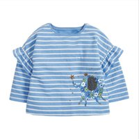 New Arrivals girl clothing Kids T-Shirts 100%Cotton Long Sleeve o-neck Ruffles Design Stripped Pretty Print Clothes Size 2-3-4-5-6-7T