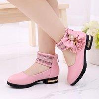 Flat Shoes Fashion Tassel Bow Childrens Leather Girls Flower For Princess Wedding Big Kid Dance 3 4 5 6 7 8 9 10 11 12 Year Old